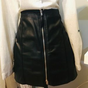 H&M faux leather skirt with zip